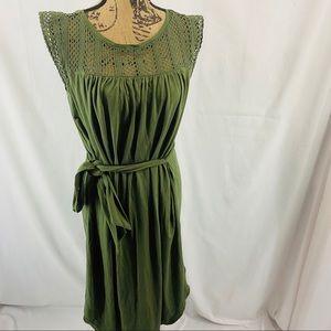 GAP Crochet Lace Tie Waist Dress Jungle Green